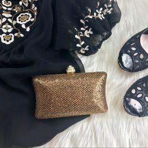 Handbags - Stunning Bronze Gold Embellished Evening Clutch